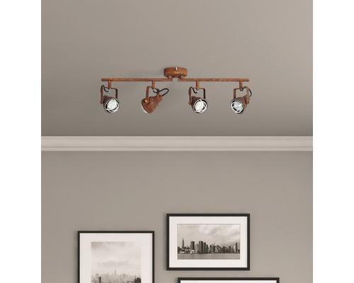 Spot de plafond 4ampoules l 680mm Bente couleur rouille/noir