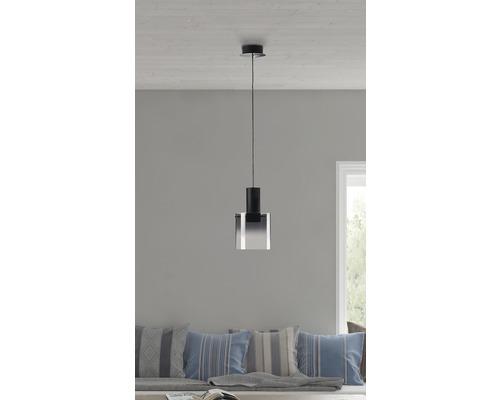 Suspension LED Hobey noir/verre fumé 1x8W 800 lm 3000 K blanc chaud Ø 200 mm