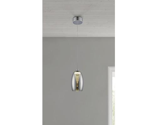Suspension LED 1x5W 500lm 3000K blanc chaud Ø 115mm Metropolis chrome/verre fumé