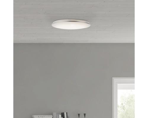 Plafonnier LED Jamil CCT 60W 4800 lm 3000-6000 K blanc chaud-blanc lumière naturelle hxØ 77/480 mm blanc/argent avec télécommande