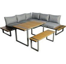 Loungeset Garden Place Alu 237 x 237 cm 7-Sitzer 3 tlg. inkl. Tisch 120 x 70 x 69 cm in Holzoptik inkl. Sitzkissen hellgrau-thumb-0
