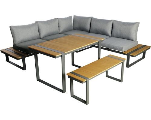 Loungeset Garden Place Alu 237 x 237 cm 7-Sitzer 3 tlg. inkl. Tisch 120 x 70 x 69 cm in Holzoptik inkl. Sitzkissen hellgrau-0