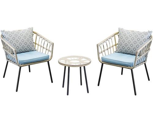 Ensemble de meubles de balcon Garden Place 3 pièces optique bambou naturel