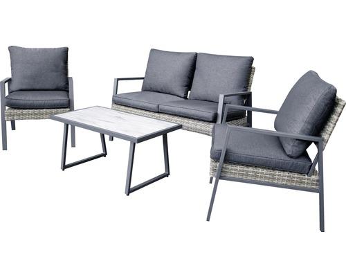 Ensemble de meubles de jardin Garden Place en rotin synthétique 4 personnes 4 pièces avec table 90 x 50 x 43,5 cm et galettes d''assise anthracite marron