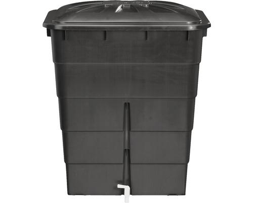 Récupérateur d''eau de pluie GARANTIA carré, avec couvercle et robinet de purge, 300 l gris