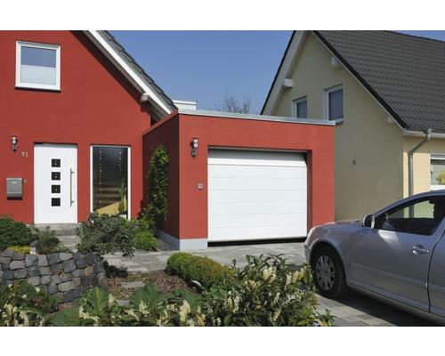 Portail de garage sectionnel Basic 40 mm RAL 9010 blanc pur 2500x2125 mm, avec motorisation de porte de garage et 2 émetteurs portatifs à deux canaux, bouton-poussoir intérieur IT1-1b