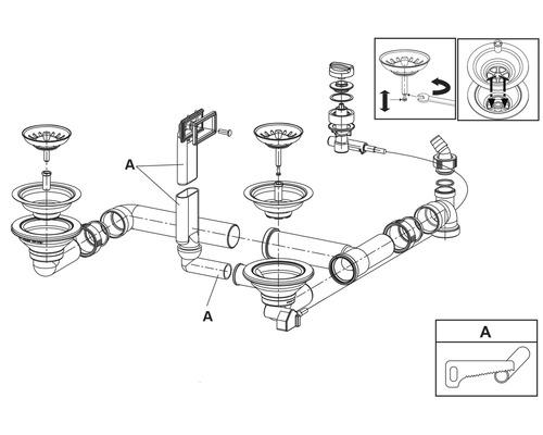 """Soupape excentrée à filtre 3 ½"""" pour évier Eurodomo Futuro 60/Radar 60"""