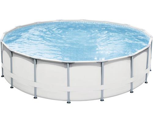 Kit de piscine tubulaire hors sol Elite rond Ø 488x122 cm avec groupe de filtration à sable, skimmer intégré, échelle, sable de filtration, bâche de recouvrement, tapis de sol et flexible de raccordement gris