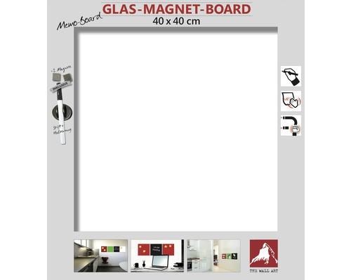 Tableau magnétique en verre blanc 40x40 cm