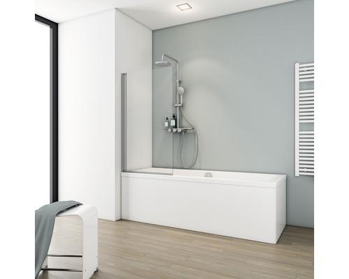 Pare-baignoire Schulte ExpressPlus Komfort 1 pièce 70x130 cm verre transparent couleur du profilé aluminium