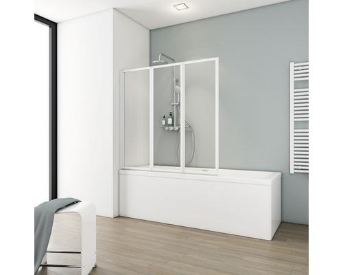 Pare-baignoire Schulte ExpressPlus Komfort 3 pièces verre transparent couleur du profilé blanc alpin