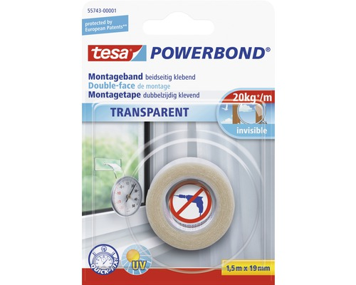 Bande de montage tesa Powerbond transparente 15m x 19mm