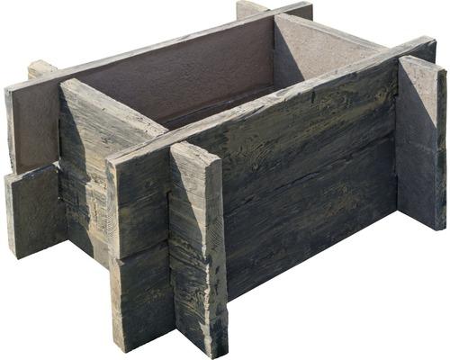 Système d'enfichage pour jardinière surélevée en béton, marron rustique, sans vissage 100 x 75 x 42 cm