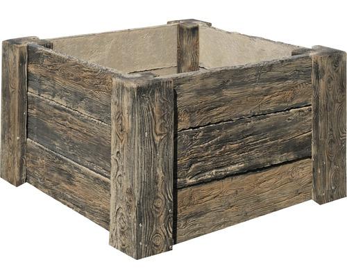 Potager sur pieds en béton Cube Antique marron foncé avec filetage prémonté 120 x 120 x 69 cm