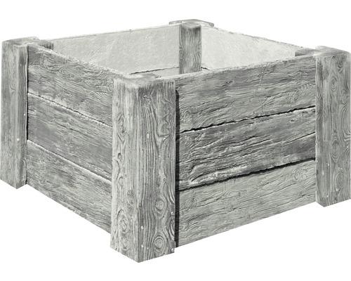 Potager sur pieds en béton Cube Antique gris avec filetage prémonté 120 x 120 x 69 cm