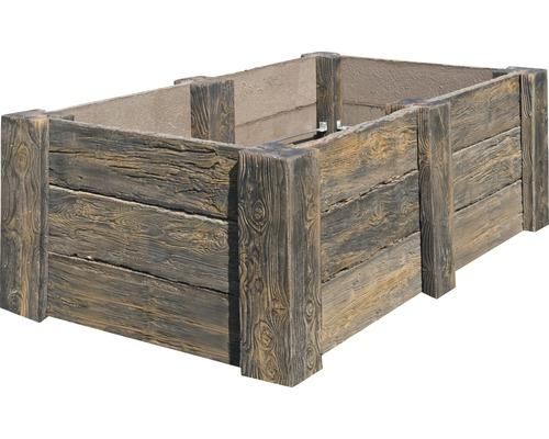 Potager sur pieds en béton Big Antique marron foncé avec filetage prémonté 220 x 120 x 69 cm