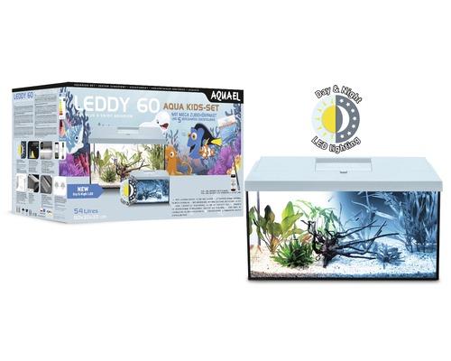 Aquarium AQUAEL Leddy Kids Starter Set 60 avec éclairage LED, filtre, chauffage, filet à poisson, préparateur d''eau, figurines décoratives blanc