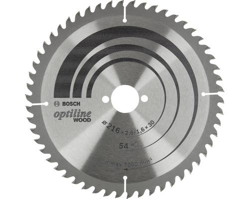Lame de scie circulaire Optiline Wood 216x2,6-1,6x30mm, 54 dents