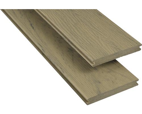 Lame de terrasse en composite Konsta frêne velours 20x145 mm (au mètre à partir de 1000 mm jusqu''à 6000 mm max.)