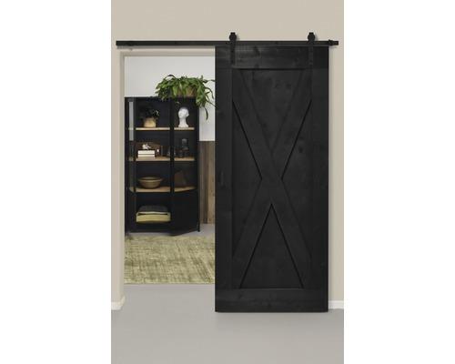 Set complet pour porte coulissante Barn Door Vintage XBrace noir droit 95x215 cm avec vantail, ferrure pour porte coulissante et jeu de poignées