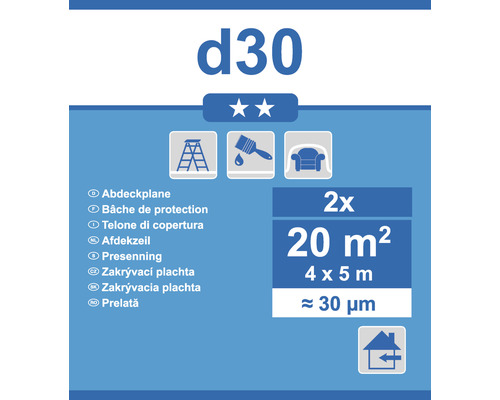 Bâche de recouvrement D30 transparent 4x5m lot de 2
