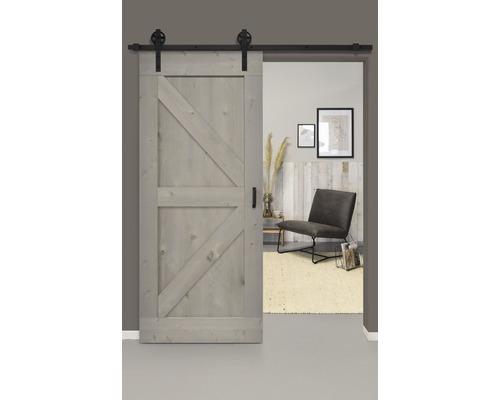 Kit complet de porte coulissante Barn Door Vintage gris apprêté, rayons Wales 95x215 cm avec vantail, ferrure pour porte coulissante et jeu de poignées
