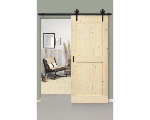 Set complet pour porte coulissante Barn Door Vintage MidBar nature rayons 95x215 cm avec vantail, ferrure pour porte coulissante et jeu de poignées