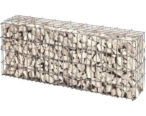 Gabion prêt à l''emploi 100 x 25 x 50 cm rempli de pierres pour gabions Bianco Zandobbio 70-120 mm
