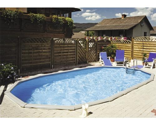 Piscine enterrée kit piscine avec parois en acier Steinbach Grande ovale 549x366x135 cm avec skimmer intégré blanc