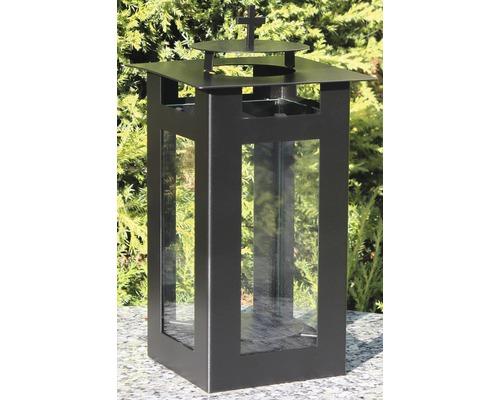 Lanterne funéraire métal 11,5 x 22 cm noir
