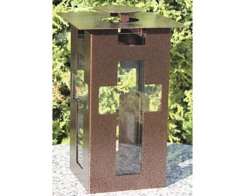 Lanterne funéraire métal 15 x 25 cm cuivre