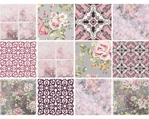 Autocollants pour carrelage rose 15x15 cm différents 12 pces