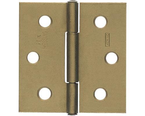 Charnière carrée avec une tige en laiton rivetée, 64x62mm, laiton