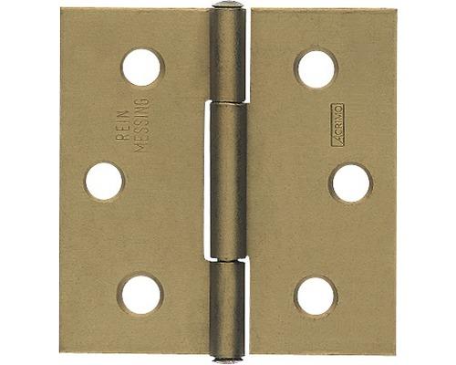Charnière carrée avec une tige en laiton rivée, 100x97,5mm, galvanisée jaune