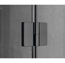 Douche accès d''angle basano Ballino 90 cm verre véritable transparent clair profil noir-thumb-6
