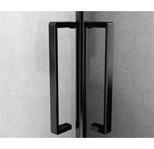 Douche accès d''angle basano Ballino 90 cm verre véritable transparent clair profil noir-thumb-10