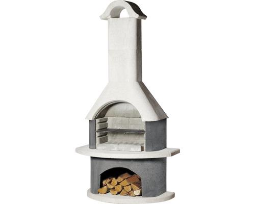 Barbecue cheminée Buschbeck Meran béton blanc avec tablette latérale et grille à barbecue