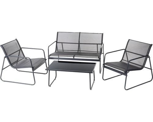 Ensemble de meubles de jardin Garden Place Donau 4 places 4 pces. avec revêtement textile anthracite avec table en verre 85 x 50 x 37 cm gris