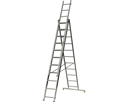 CLASSIK Mehrzweckleiter 3 x 11 Sprossen Aluminium Länge 3,15 - 6,50 m