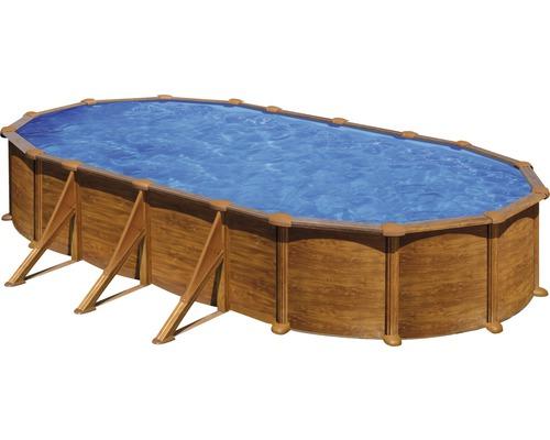 Kit piscine hors sol à paroi en acier ovale 744x575x132 cm avec groupe de filtration à sable, skimmer, échelle, sable filtrant et tapis de sol aspect bois