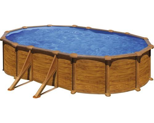 Kit piscine hors sol à paroi en acier ovale 634x575x132 cm avec groupe de filtration à sable, skimmer, échelle, sable filtrant et tapis de sol aspect bois