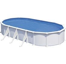 Aufstellpool Stahlwandpool-Set oval 744x575x132 cm inkl. Sandfilteranlage, Skimmer, Leiter, Filtersand & Bodenschutzvlies weiß-thumb-0