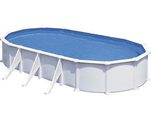 Kit piscine hors sol à paroi en acier ovale 744x575x132 cm avec groupe de filtration à sable, skimmer, échelle, sable filtrant et tapis de sol blanc
