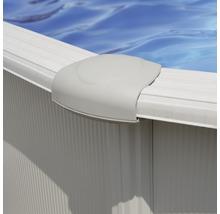 Aufstellpool Stahlwandpool-Set oval 744x575x132 cm inkl. Sandfilteranlage, Skimmer, Leiter, Filtersand & Bodenschutzvlies weiß-thumb-2