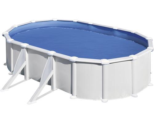 Kit piscine hors sol à paroi en acier ovale 527x500x132 cm avec groupe de filtration à sable, skimmer, échelle, sable filtrant et tapis de sol blanc