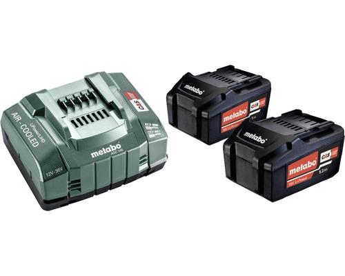 Kit de batteries Metabo 18V Li-Ion (5,2 Ah) 2x batteries et chargeur