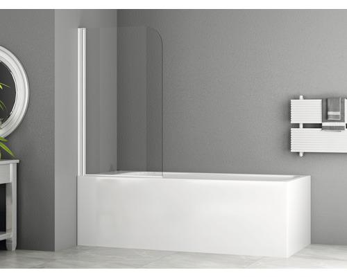 Pare-baignoire basano Tahiti black 750x1400 mm verre transparent clair profilé blanc mat
