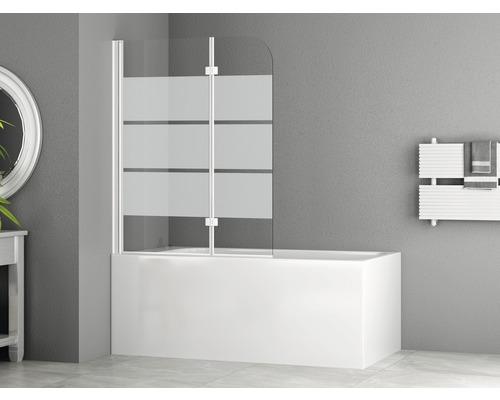 Pare-baignoire basano 2 parties 1120x1400 mm décor rayures profilé blanc mat