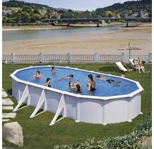 Aufstellpool Stahlwandpool-Set oval 744x575x132 cm inkl. Sandfilteranlage, Skimmer, Leiter, Filtersand & Bodenschutzvlies weiß-thumb-1