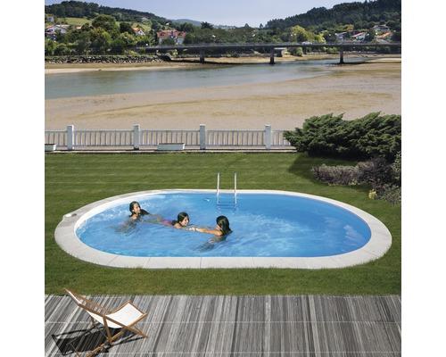 Einbaupool oval Einbaupool 800 x 400 x 120 cm 30000 l Weiß inkl. Sandfilteranlage